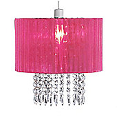 Oba Pink Ceiling Light Shade with Acrylic Crystal Droplets