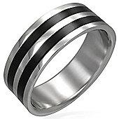 Urban Male Men's Stainless Steel & Double Black Resin 8mm Ring