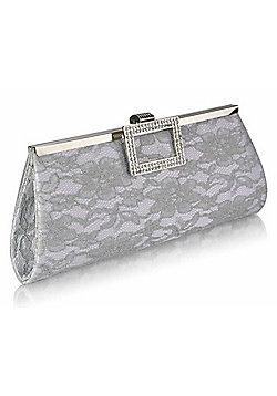 Silver Floral Lace Diamantes Evening Party Clutch Bag