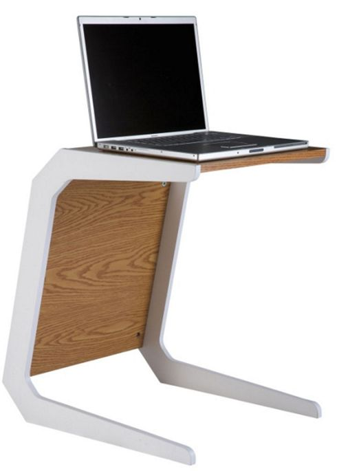 Alphason Oak Laptop Table With White Legs