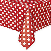 Red Polka Dot Plastic Tablecover - 1.4m x 2.8m