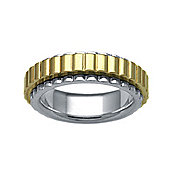 Bespoke 18 carat Yellow & White Gold 7mm Two Piece Wedding Ring with Spinning Center Band.