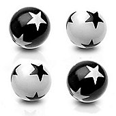 Pack of Four UV Acrylic Star Threaded Colour Balls 1.6mm