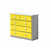 3 + 2 Chest of Drawers in White and Lime
