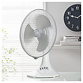"Tesco DF1215W 12"" Desk Fan + Rim + Grille Shiny White"