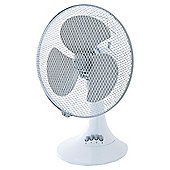 "Tesco 12"" Desk Fan, 3 Speed - White"