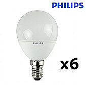 Pack of 6 Philips 5W SES E14 Energy Saving CFL Golfball Bulbs in Warm White