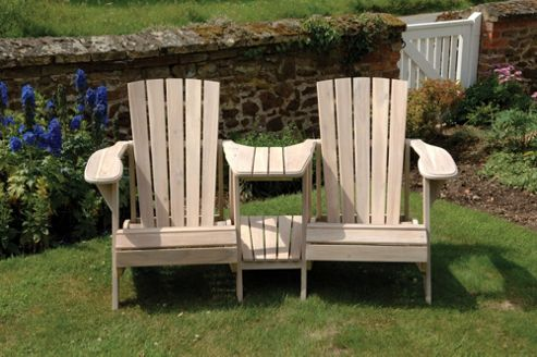 Norfolk Leisure Classic Double Adirondack Chair in Colonial White Wash