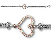 Jewelco London Silver two colour Heart Bracelet - Ladies