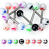 Urban Male Pack Of Eight Surgical Stainless Steel Smiley Face Body Piercing Barbells