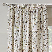 Rectella Leaf Trail Natural Tapestry Look Pencil Pleat Curtains -229cm x229cm