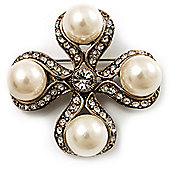 Vintage Pearl Style Crystal Cross Brooch (Antique Gold)