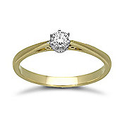 Jewelco London 18 Carat Yellow Gold 15pts 6 Claw Diamond Solitaire Ring