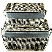 Hamper Wicker Basket Set x 2 - Grey Wicker