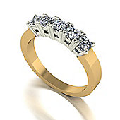 18ct Gold 5 Stone Square Brilliant Moissanite Ring