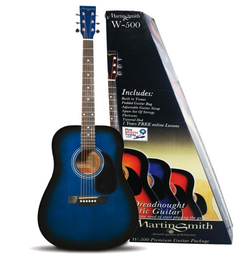 Technote Martin Smith W-500 Premium Acoustic Guitar Pack - Blue