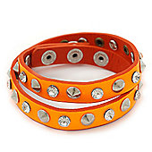 Neon Orange Leather Crystal and Spike Studded Wrap Bracelet - Adjustable (One Size Fits All)