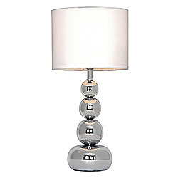 Marissa Chrome Touch Table Lamp with White Shade