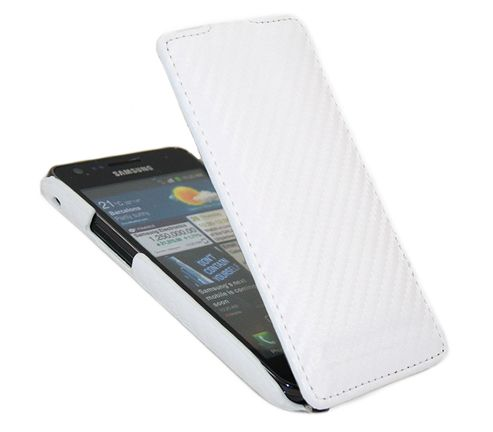 iTALKonline 21419 Premium Leather White Clip On Flip Case - Samsung i9100 Galaxy S II S2