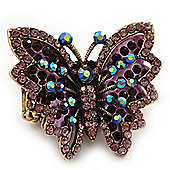 Madame Butterfly Statement Stretch Burn Gold Ring (Purple Finish) - Adjustable size 7/8