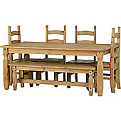 Corona 6' Dining Set With 5' Bench And 4 Chairs Distressed Waxed Pine