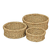 Wicker Valley Seagrass Round Basket (Set of 3)