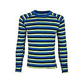 Merino Striped Kids Round Neck Top - Blue