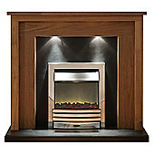 Adam Sanya Electric Fireplace Suite in Walnut and Black with Eclipse Electric Fire