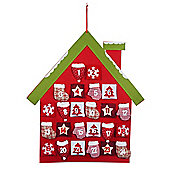 Large Felt & Fabric Christmas House Hanging Advent Calendar