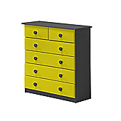 Verona Drawer Chest 4 + 2 Colour Graphite and Lime