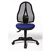 Topstar Open Point Mesh Mid-Back Task Chair - Fixed Arms - Royal Blue - Without Headrest