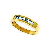 QP Jewellers 0.60ct Blue Topaz Princess Prestige Ring in 14K Gold