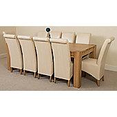 Kuba Chunky Solid Oak 220 cm with 10 Ivory Montana Chairs