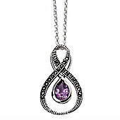 Amethyst and Marcasite Silver Loop Necklace