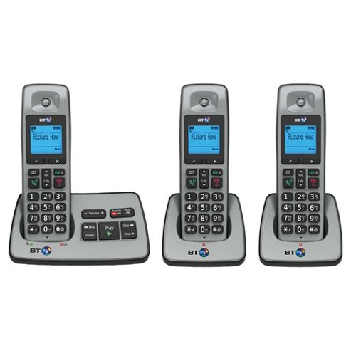BT 2500 Cordless Triple Phone with Answer Machine - Silver