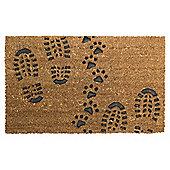 Foot & Paw Print Coir Door Mat 45x 75cm
