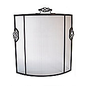 Crannog Solid Fire Screen with Twist Handle in Black