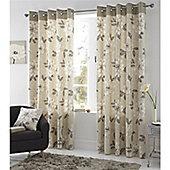 Fusion Isabel Eyelet Lined Natural Curtains - 66x54