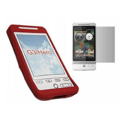 iTALKonline Red Hybrid Case LCD Screen Protector and Cleaning Cloth - For HTC Hero