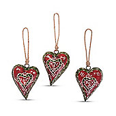 Set of Three Red & Green Metal Decorative Hanging Heart Ornaments