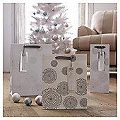 Tesco Bottle Bag & Gift Tag, Silver Doily
