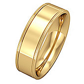 Jewelco London 18ct Yellow Gold - 6mm Essential Flat-Court Track Edge Band Commitment / Wedding Ring -