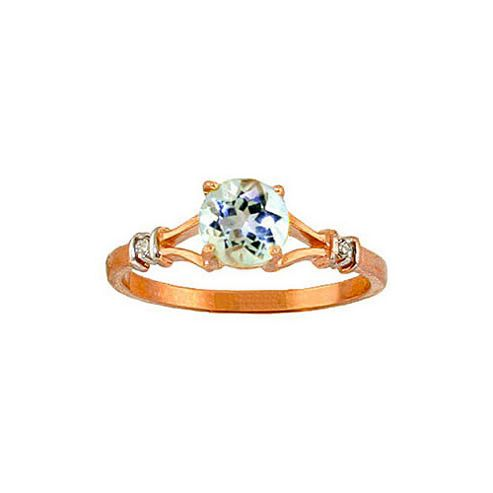 QP Jewellers Diamond & Aquamarine Aspire Ring in 14K Rose Gold - Size A