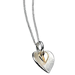 Silver and Gold Double Heart Pendant