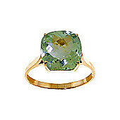 QP Jewellers 3.60ct Green Amethyst Rococo Cushion Ring in 14K Gold