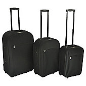 Tesco 2-Wheel Black 3pc Suitcase Set