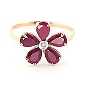 QP Jewellers Diamond & Ruby Foliole Ring in 14K Rose Gold