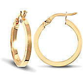 Jewelco London 9ct Yellow Gold Square Tube Hoop Earring