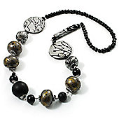 Stylish Animal Print Wooden Bead Necklace (Grey & Black)