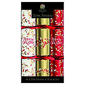 Tom Smith Red and Gold Foliage Christmas Crackers, 6 pack